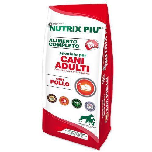 NUTRIX più POLLO MANGIME crocchette alimento COMPLETO PER CANI ADULTO 15KG