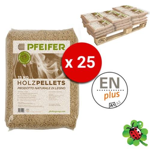 Pellet PFEIFER HOLZPELLETS Bancali da 25 Sacchi Abete 15 Kg al Pezzo Certificato