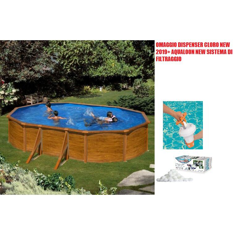Piscina in acciaio rigida fuoriterra ovale Gre Sicilia 500x300x120 effetto legno