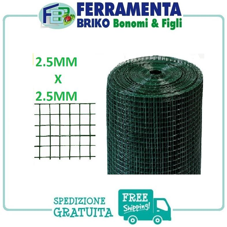 Rete metallica zincata e plastificata maglie quadrate 1.2x1.2 cm h50cm L5m