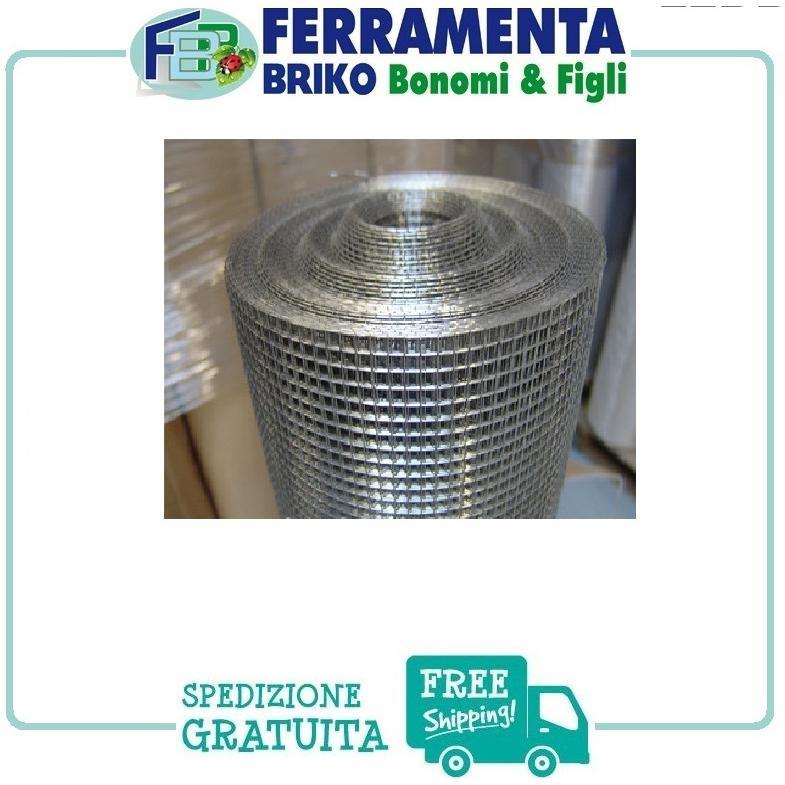Rete metallica zincata maglie quadrate 1.2x1.2 cm h50cm L5m