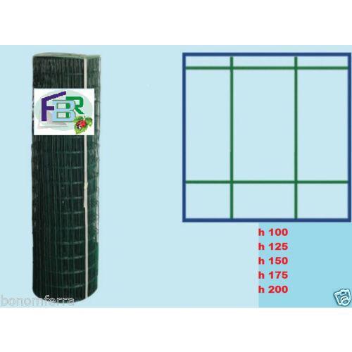 ROTOLO RETE METALLICA h 125 ZINCATA PLASTIFICATA ELETTROSALDATA-5x7,5cm-RECINZIONE 25mt