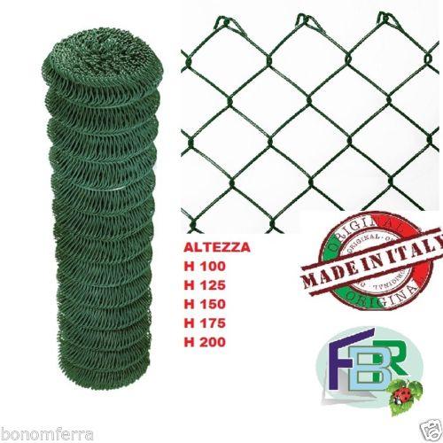 ROTOLO RETE METALLICA ZINCATA PLASTIFICATA h 125 MAGLIA SCIOLTA 5x5cm RECINZIONE