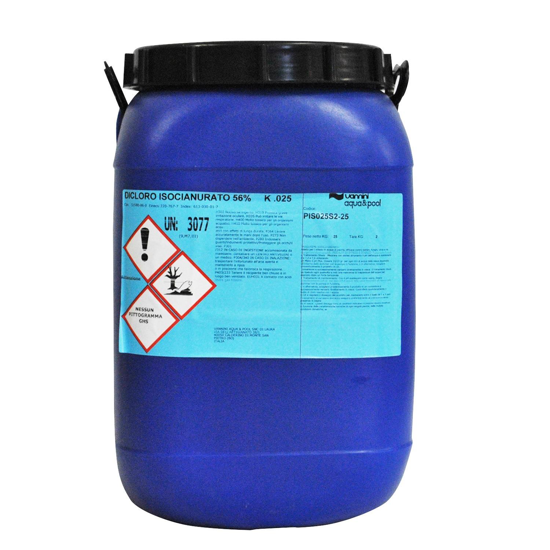 Tanica cloro in polvere sodio dicloro 56 per piscina 25 kg - Cloro in piscina ...