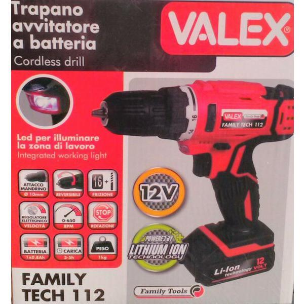 Trapano batteria al litio 18 V Valex Family-Tech 218 2 batterie valigia luce LED