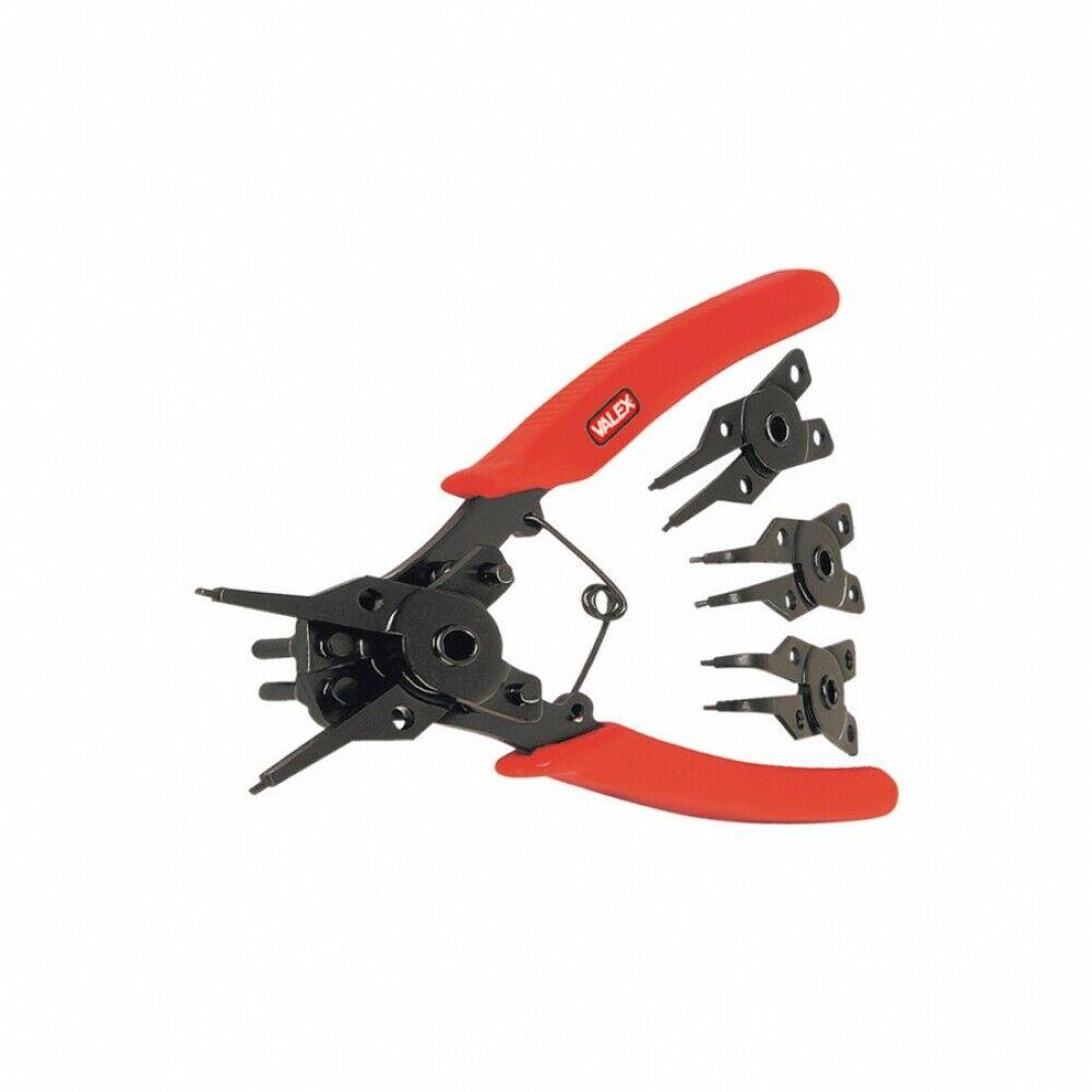 VALEX Pinza per anelli elastici con 4 teste intercambiabili